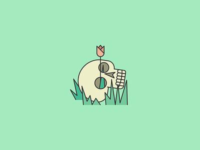 Spring Has Come tulip flower grass bones resurrection life death skull spring