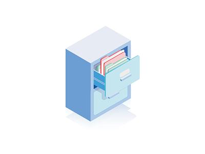Documentation Illustration isometric nightstand shelf folder archive resource documentation