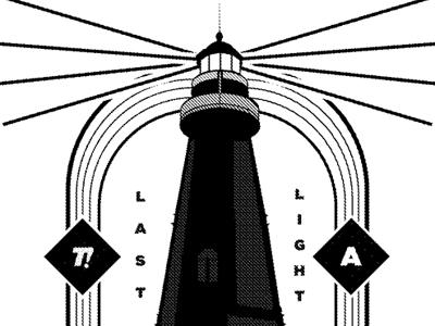 Lastlight black and white lighthouse illustration print apparel