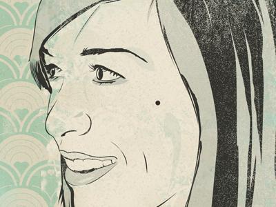 Sandywip illustration portrait texture pattern worn