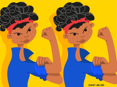 We can do this together strength strong woman curly hair blacklivesmatter afroamerican life girl characterdesign character illustration
