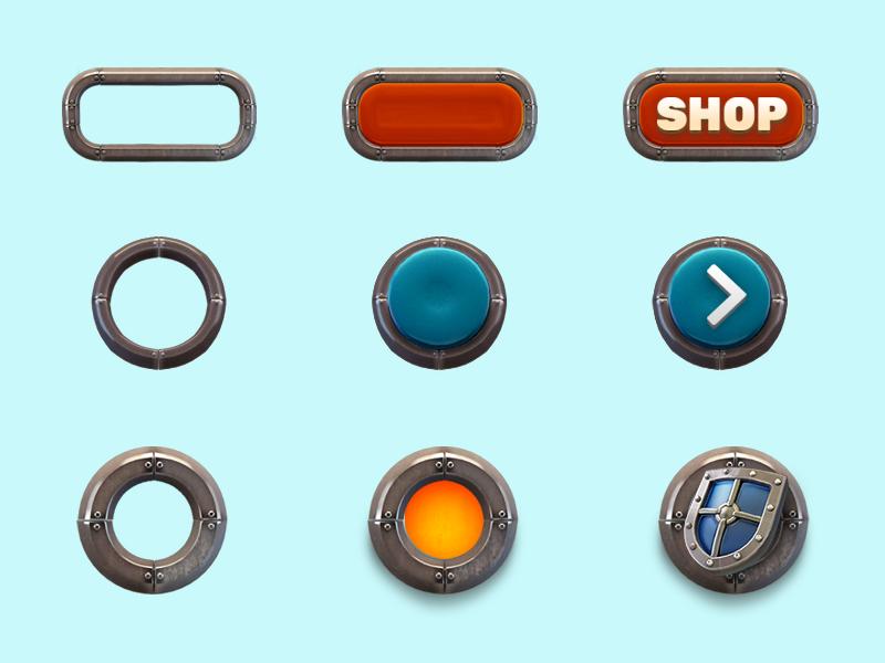 Realistic design of game buttons. 插图 品牌 活版印刷 向量 应用 设计 ui 图标
