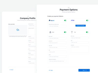 Onboarding Payment Option input upload toggle invoice online onboarding white blue clean ux design minimal ui