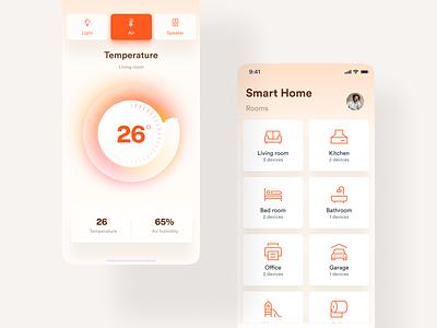 Smart Home App chart light speaker air temperature home smart smart home white ux clean app design minimal ui