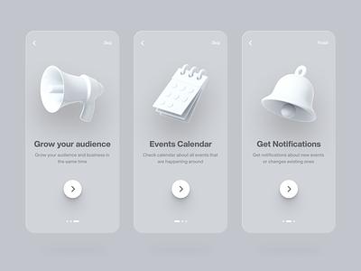 App Onboarding events notification audience calendar bell onboarding screens onboarding ui onboarding 3d white clean ux design app minimal ui
