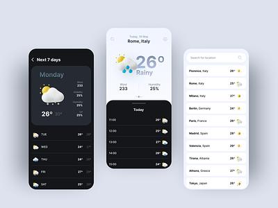 Weather App mobile uiux white blue design app ui clean app clean ui minimal 3d weather 3d clean weather app weather mobile design mobile app mobile ui mobile