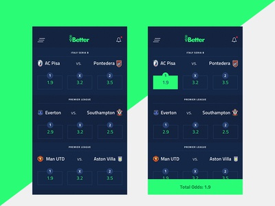 vBetter - Virtual Betting App app football play decimal soccer green virtual sport betting