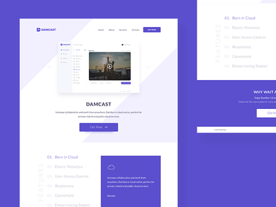 DAMCAST Landing Page cloud audio video broadcast simple minimal web page landing damcast