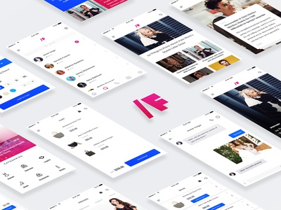 /F Fashion App UI Kit blog sketch template clean minimal categories reader pink kit ui app fashion