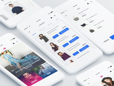 /F Fashion App UI Kit fashion app ui kit pink reader categories minimal clean template sketch blog