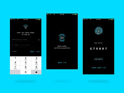 Secret Chat - Onboarding iphone app im id register welcome onboarding messenger chat secret