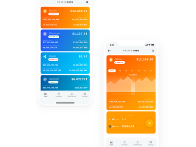 Mastercoin App app coin bitcoin etherum statistics graph colors design ui typography ux gradient