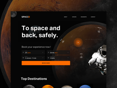 SPACED Website design search book space mars moon earth black web spacedchallenge spaced