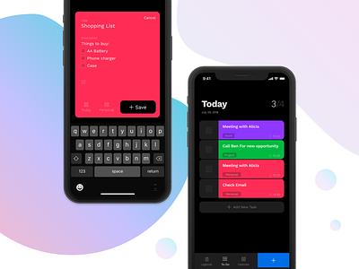Todo App ux ui app color to-do todo task schedule minimal list ios black
