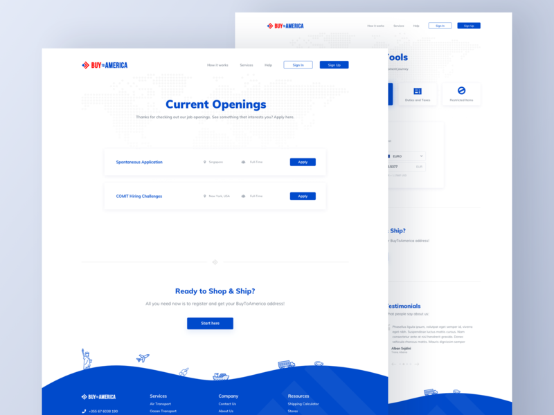 BTA Job Openings illustration shipping buy america white job application apply hr openings list job flat blue typography sketch clean ux design minimal ui