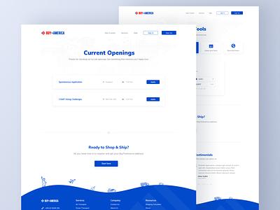 BTA Job Openings illustration shipping buy america white job application apply hr openings list job flat blue typography sketch clean ux design minimal ui