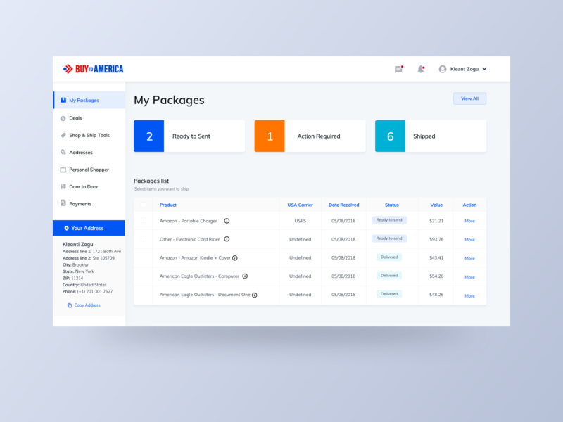 BTA Dashboard shadow nav side menu grid data shipping orange card dashboad flat blue web sketch clean ux minimal design app ui