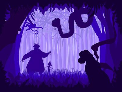 The Jungle Book silhouette vector illustration graphic design jungle bagheera baloo mowgli thejunglebook