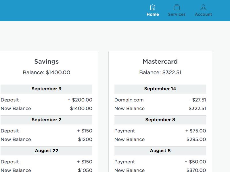 Online Banking WIP dashboard user interface ui flat banking