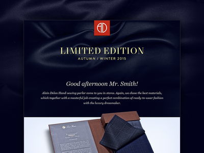 Alain Delon Limited Edition Fall/Winter 2015 clear fabric exclusive identity brand email marketing fashion tayloring delon alain newsletter