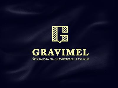 Logo Gravimel - Laser Engraved Memories sans serif line brand technical wedding material engraving identity logotype logo