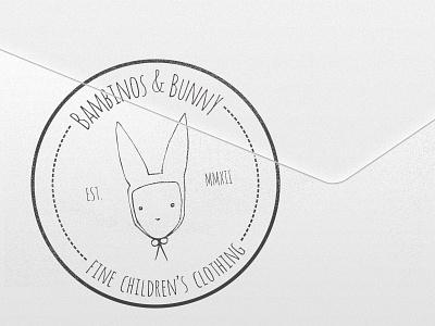 Bambinos & Bunny Stamp stamp envelope mail rabbit children clothing tag costume