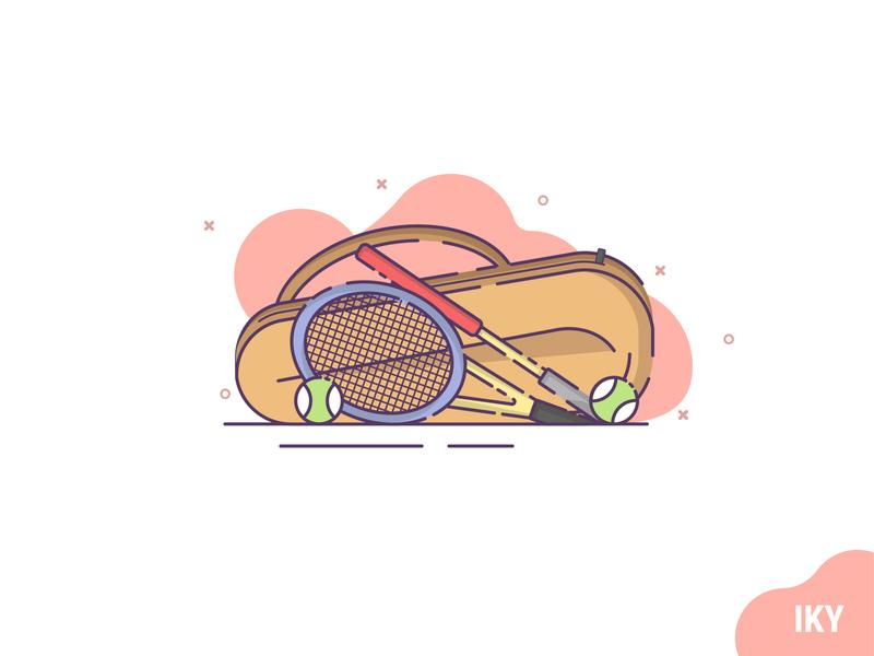 Racket Tennis illustraion racket tennis tennis ball tennis racket flat design designer design
