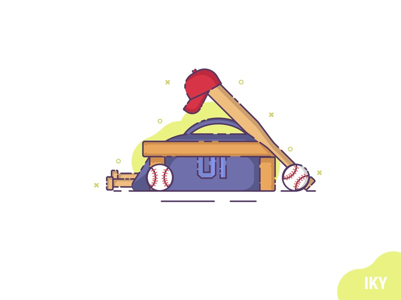 Baseball baseball bag baseball hat baseball bat baseball illustration flat design designer design