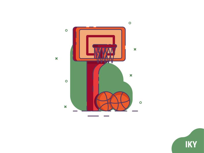 Basket basket ball basketball basket illustration flat design designer design