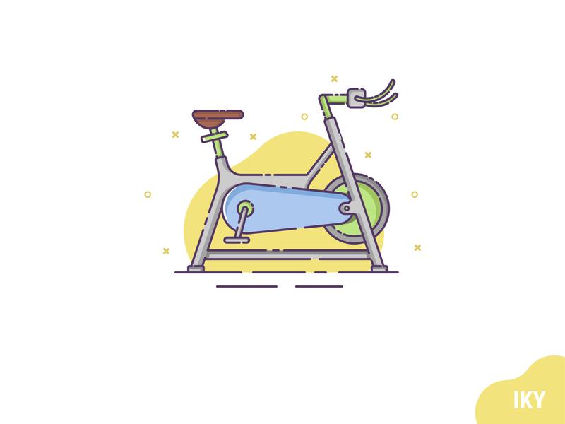 Static Bicycle gym bicycle static bicycle flat design illustration designer design