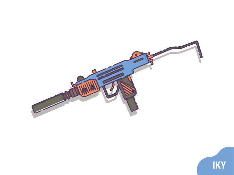 UZI With Silincer uzi gun weapon illustration flat design designer design
