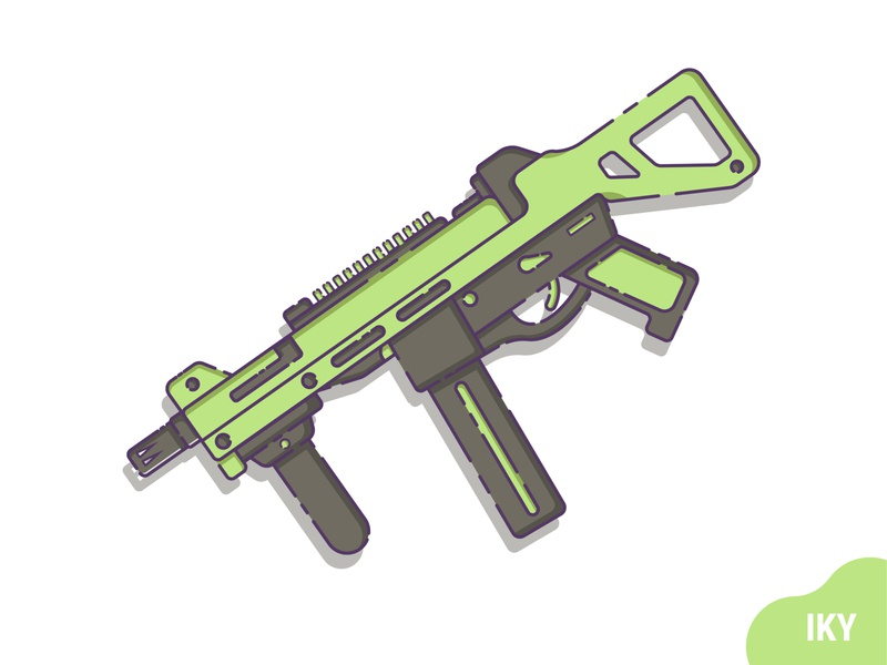 UMP weapon ump gun illustration flat design design designer