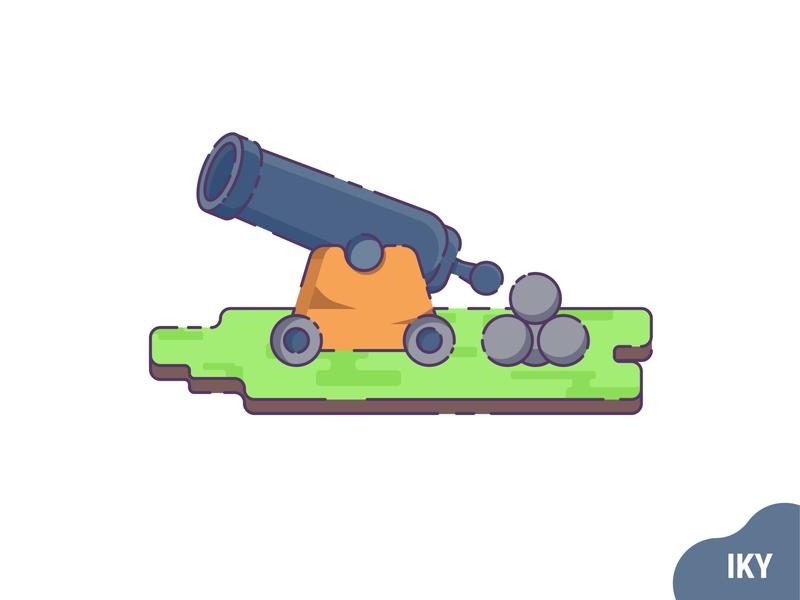 Cannon cannonball cannon vector illustration flat design designer design