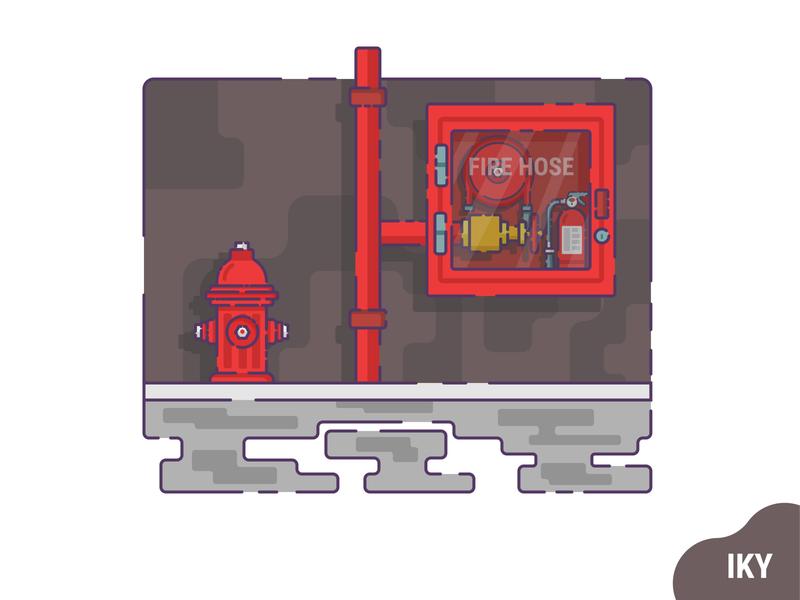 Fire Hose hydrant fire horse vector dribbble illustration flat design designer design