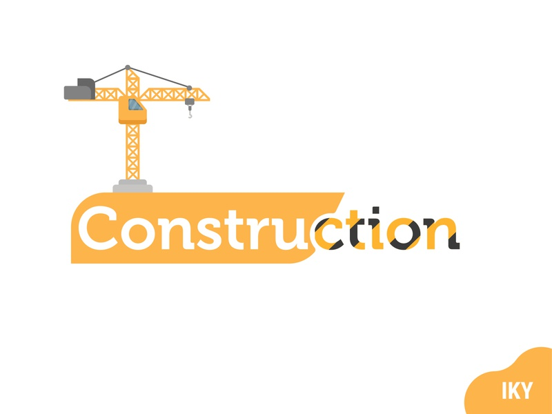 Construction Logo text flat design logo illustration designer design
