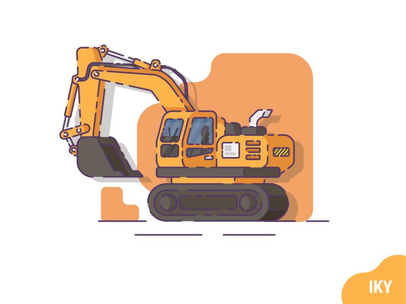 Excavator construction excavator vector illustration flat design designer design