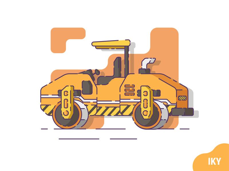 Tandem Roller tandem roller vector illustration flat design designer design