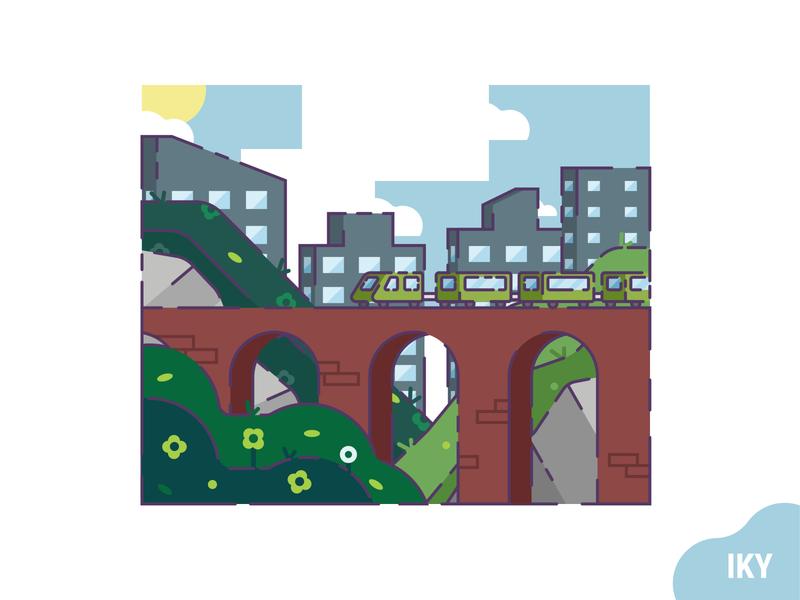 Train Morning morning flower grass stone city bridge train vector illustration flat design designer design