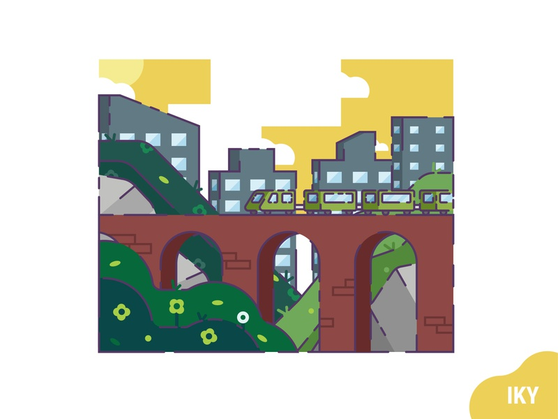 Train Afternoon afternoon flower grass stone city bridge train vector illustration flat design designer design
