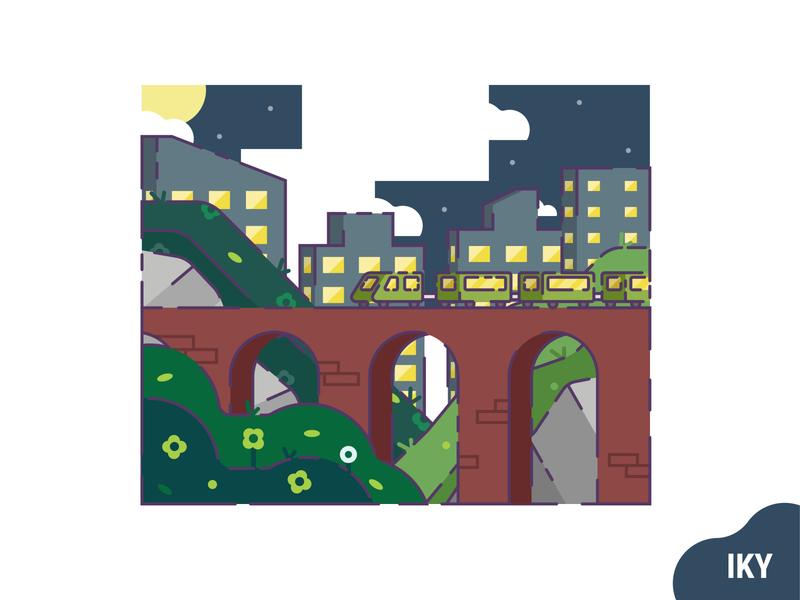 Train Night night flower grass stone city bridge train vector illustration flat design designer design