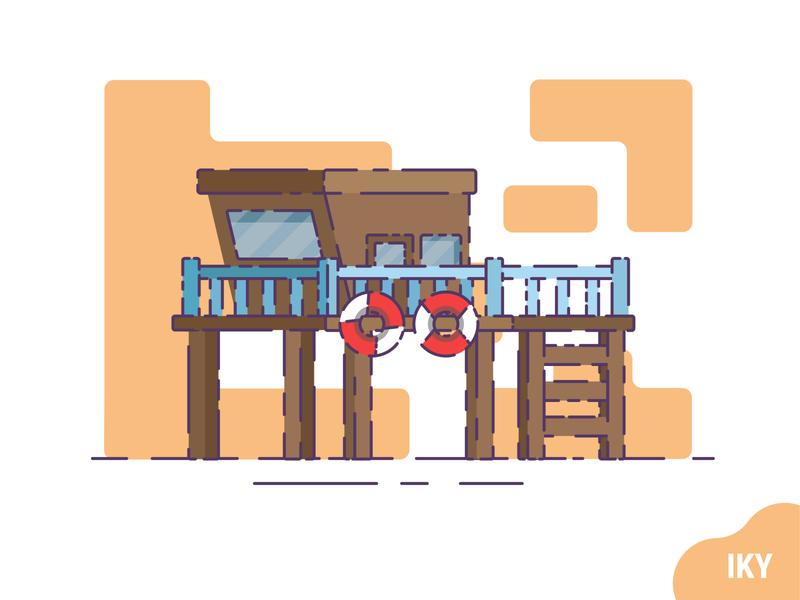 Lifeguard House life buoy buoy beach house lifeguard house lifeguard vector illustration flat design designer design