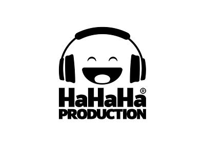 HAHAHA PRODUCTION illustration typography smiley branding hahaha vector design prduction logo