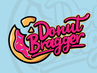 Donut Bragger donuts donut icon ui 3d typography branding vector illustration design prduction logo