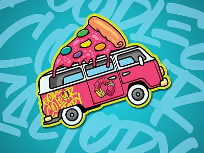 stiker design donut pizza van sticker app web typography branding vector illustration design prduction logo