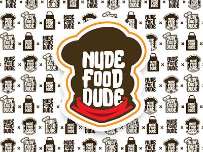 NudeFoodDude vlog food minimal icon typography branding vector illustration design prduction logo