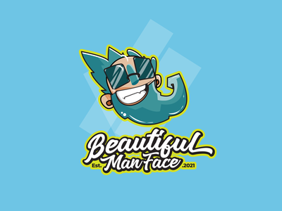 Beautiful Man Face icon ux ui typography branding vector illustration design prduction logo
