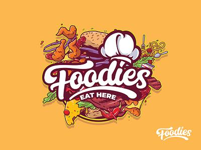 Foodies Eat Here icon ux ui typography branding vector illustration design prduction logo
