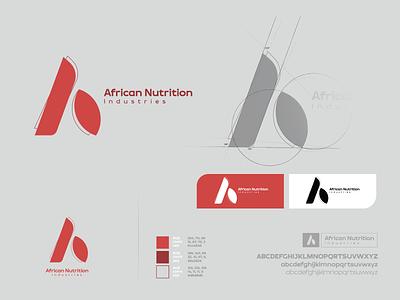 African Nutrition Industries nutrition industri africa typography branding vector illustration design prduction logo
