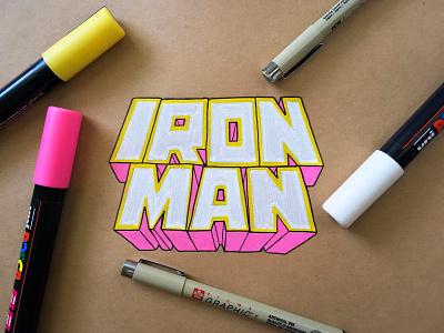 Iron Man logoart letteringart hand drawn 3dlogo design logo logotype typography type lettering handlettered handlettering avengers tony stark mcu marvel studios disney marvel comics marvel iron man