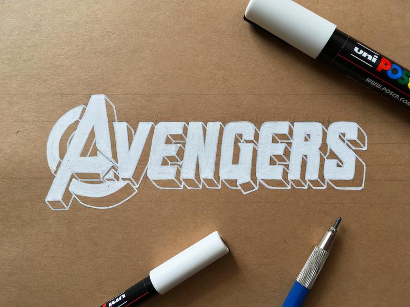 The Avengers marvel comics disney marvel logo art logo lettering art typography type handlettering lettering scarlet witch vision blackwidow hawkeye hulk thor iron man avengers infinity war avengers endgame avengers